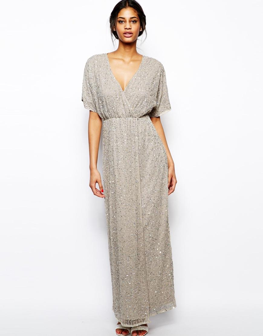 85dc7462b63 ASOS Sequin Kimono Maxi Dress in Gray - Lyst