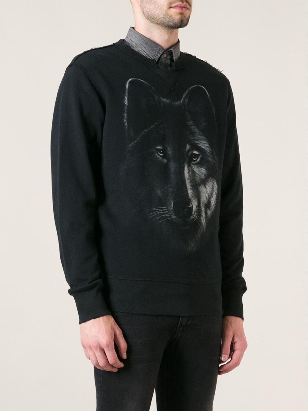Diesel Wolf Print Sweatshirt In Black For Men Lyst
