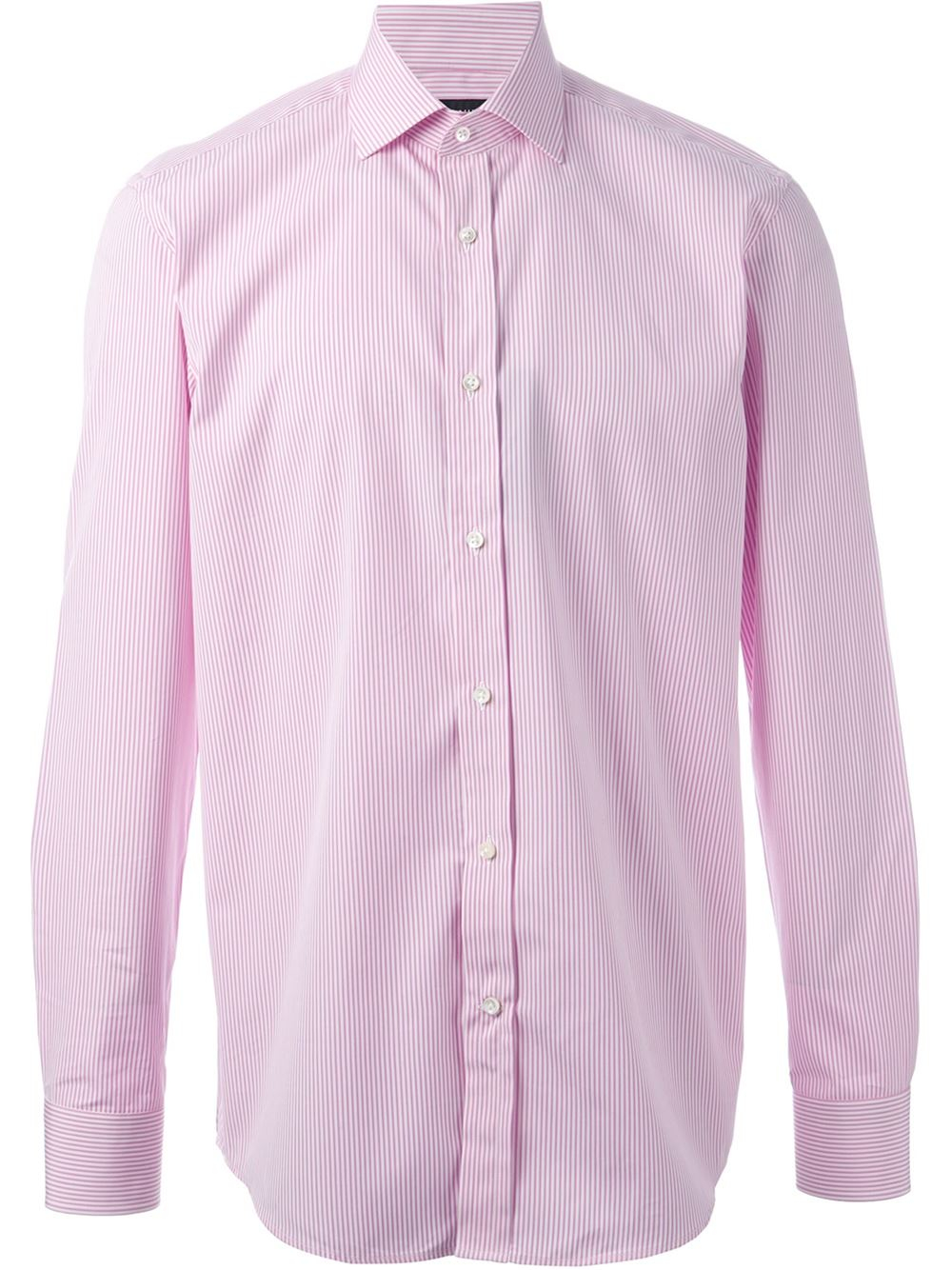 Ralph lauren striped shirt in purple for men pink for Pink white striped shirt