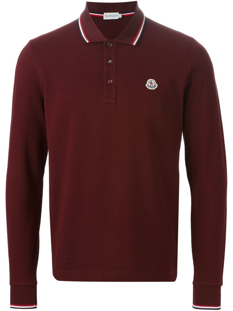 moncler long sleeve polo shirt in red for men lyst. Black Bedroom Furniture Sets. Home Design Ideas