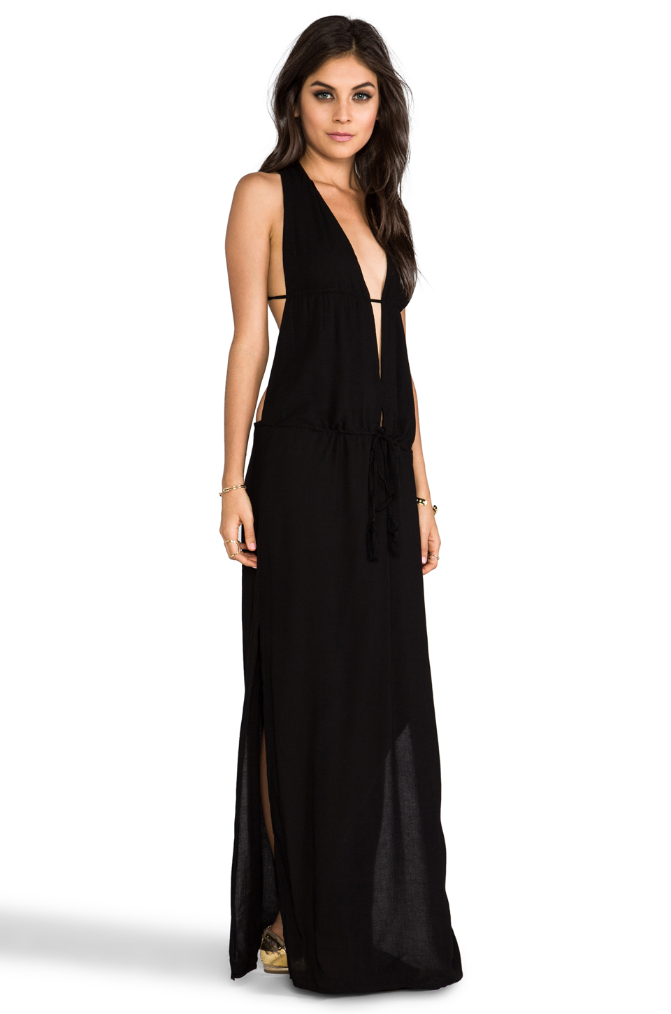 Indah Nyx Rayon Crepe Split Front Open Back Halter Maxi