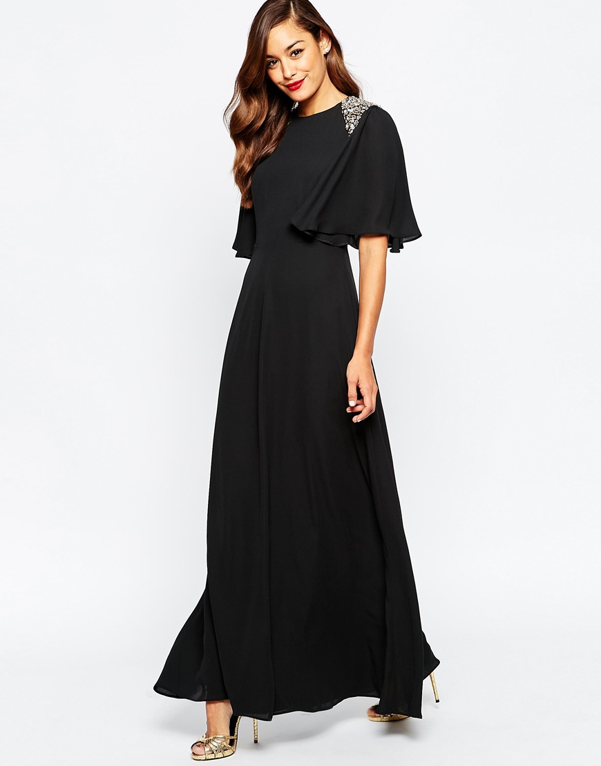 Asos Embellished Shoulder Flutter Sleeve Maxi Dress In
