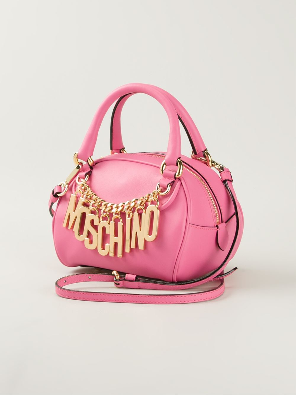 moschino logo chain calf leather bowling bag in pink pink purple lyst. Black Bedroom Furniture Sets. Home Design Ideas