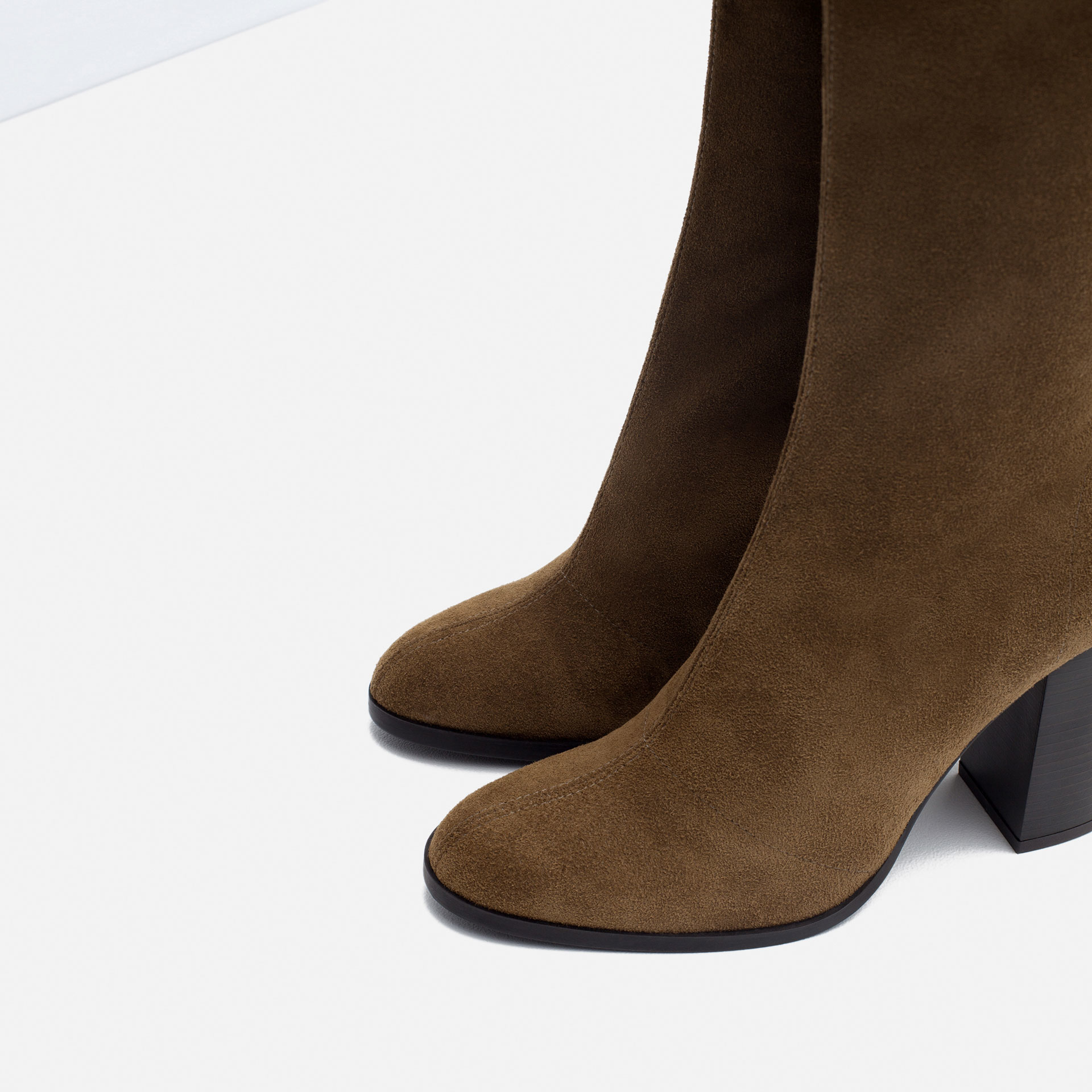 Brilliant Zara Suede Leather Block Heel Ankle Boot In Brown  Lyst