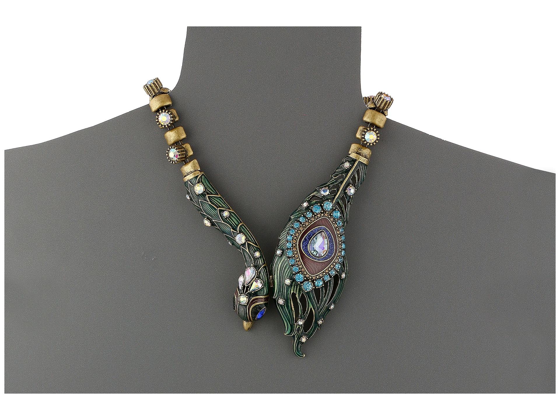 lyst betsey johnson wrapped up gold peacock frontal necklace