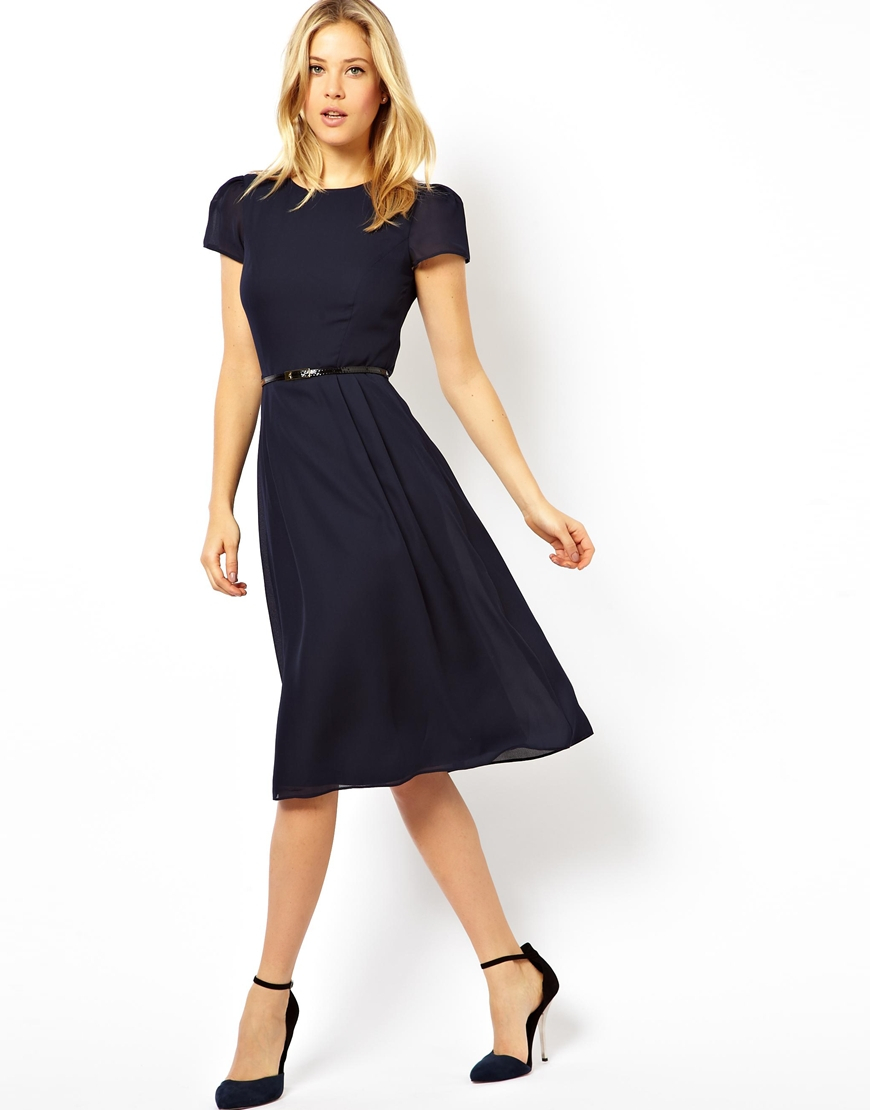 asos simple midi skater dress with belt in blue lyst
