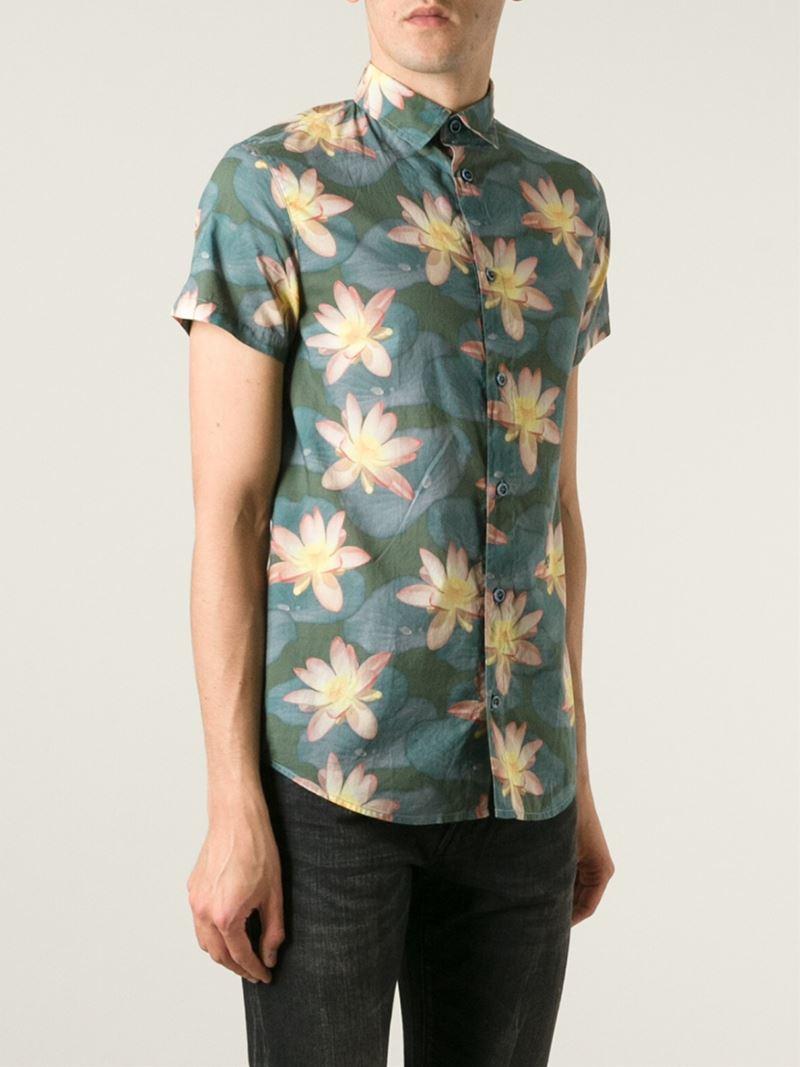 Lyst Armani Jeans Lotus Flower Print Shirt In Green For Men