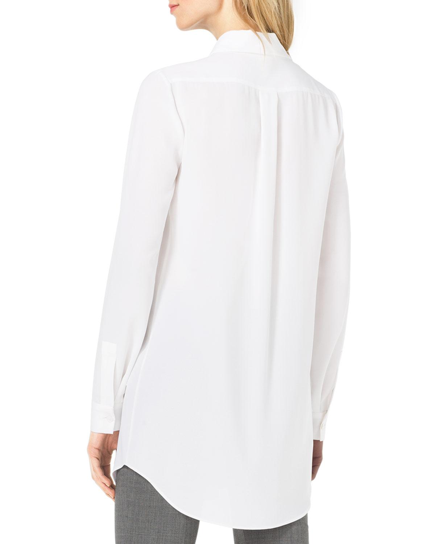 d96080d0d2131 Lyst - Michael Kors Long-Sleeve Silk Blouse in White
