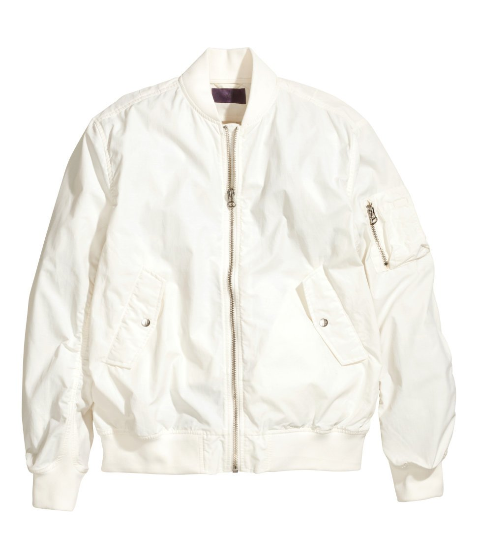 H&m Bomber Jacket in White for Men | Lyst