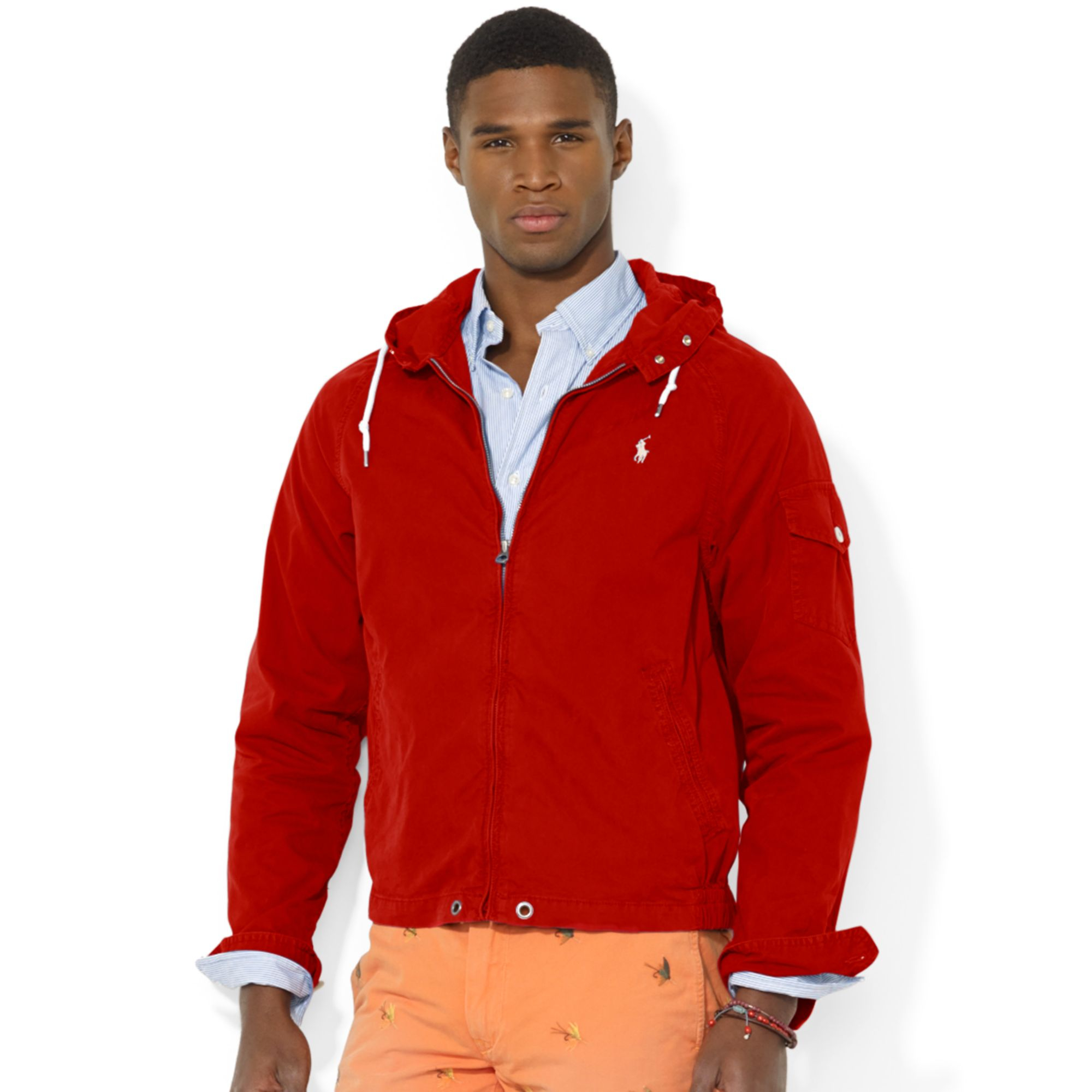 ralph lauren polo hooded windbreaker in red for men lyst. Black Bedroom Furniture Sets. Home Design Ideas