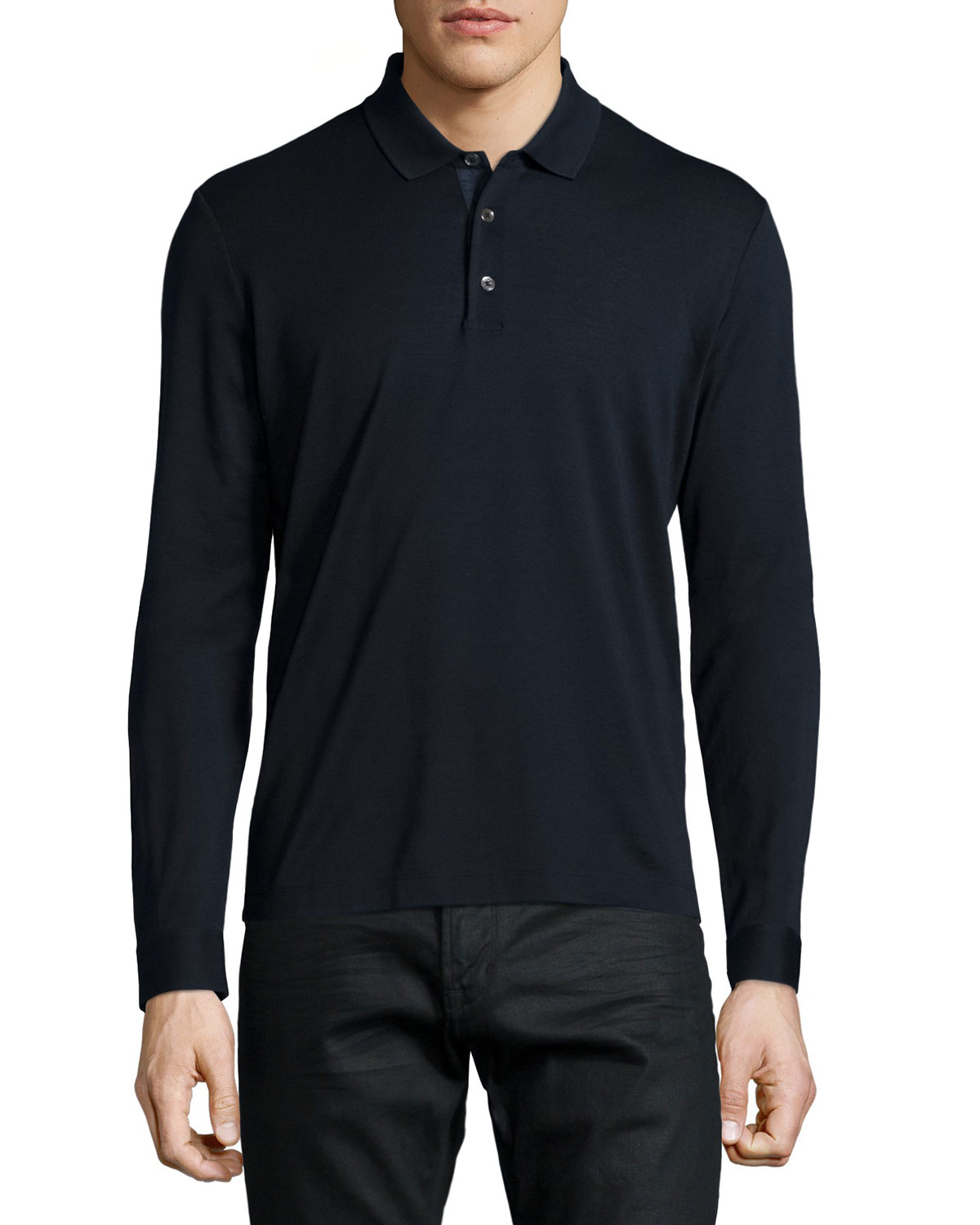 Lyst - Theory Long-sleeve Pique Polo Shirt in Blue for Men