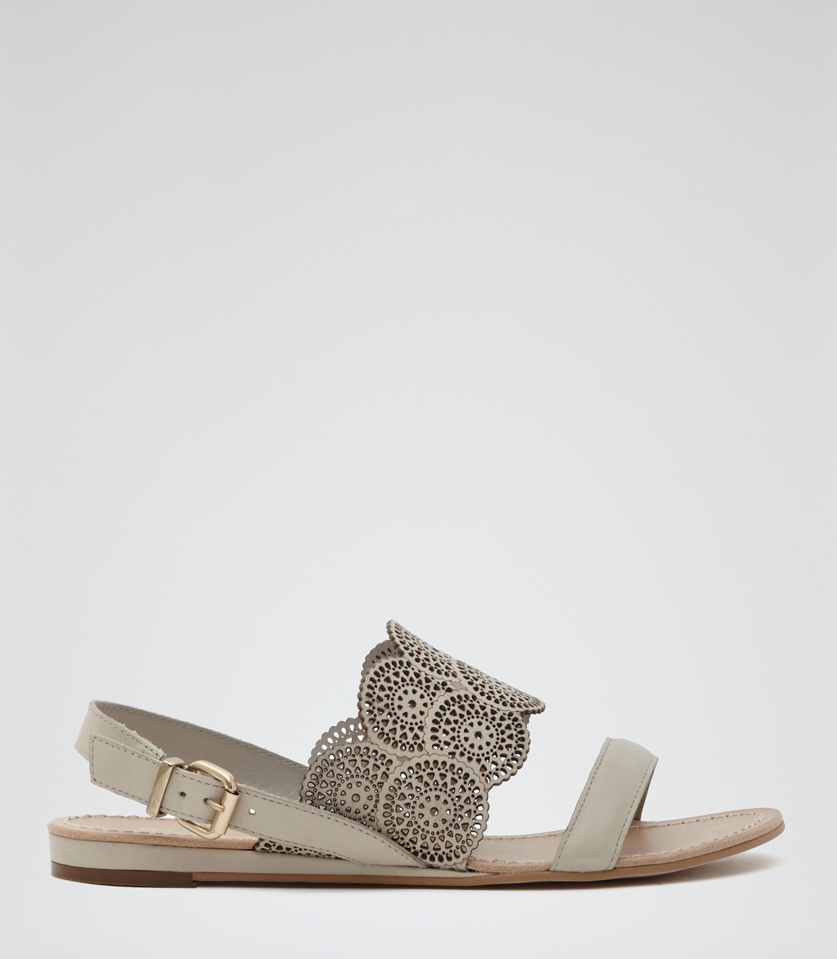 540590392e02 Lyst - Reiss Cordoba Laser-cut Flat Sandals in White