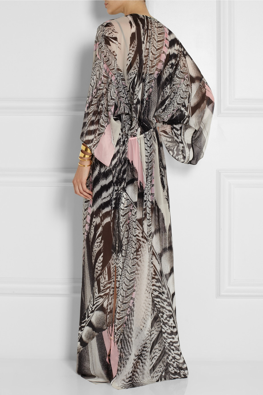 Lyst - Roberto Cavalli Printed Silk-Georgette Maxi Dress in Black 636f8c656