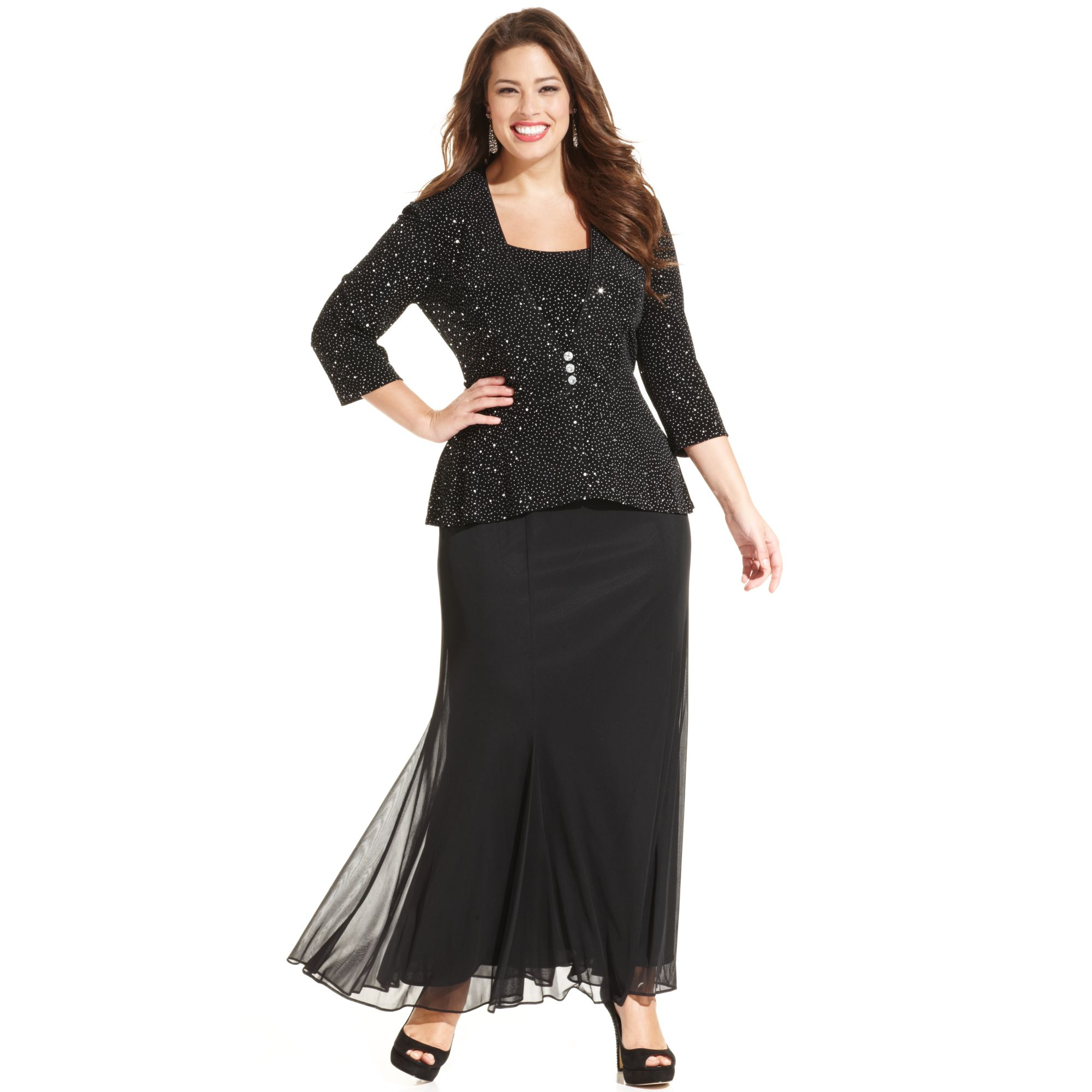 702f57213eef3 Lyst - Alex Evenings Plus Size Sleeveless Sequin Chiffon Gown and ...