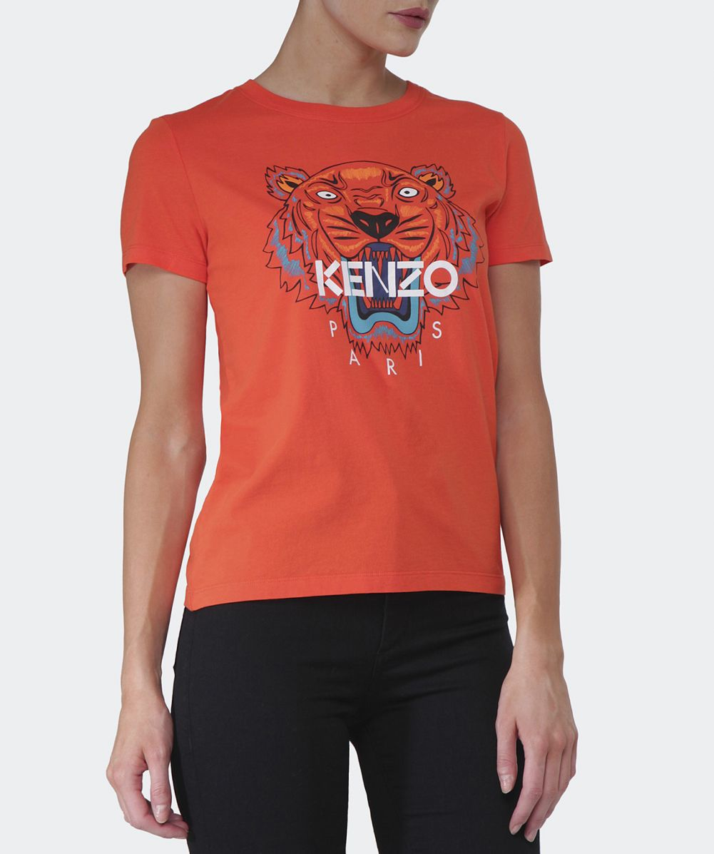 kenzo jersey logo t shirt in orange lyst. Black Bedroom Furniture Sets. Home Design Ideas