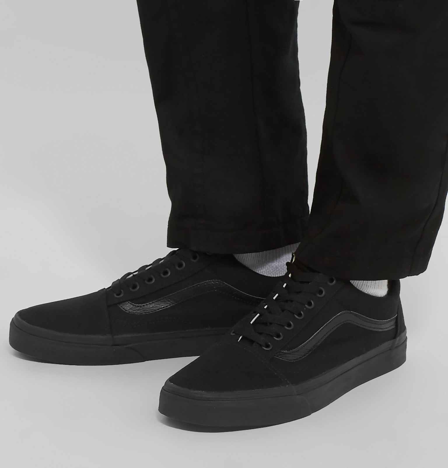marketable great variety models matching in colour Vans Black Old Skool Leather-trimmed Canvas Sneakers for men