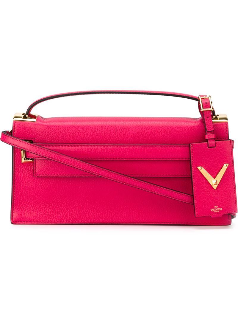 valentino my rockstud leather shoulder bag in pink pink