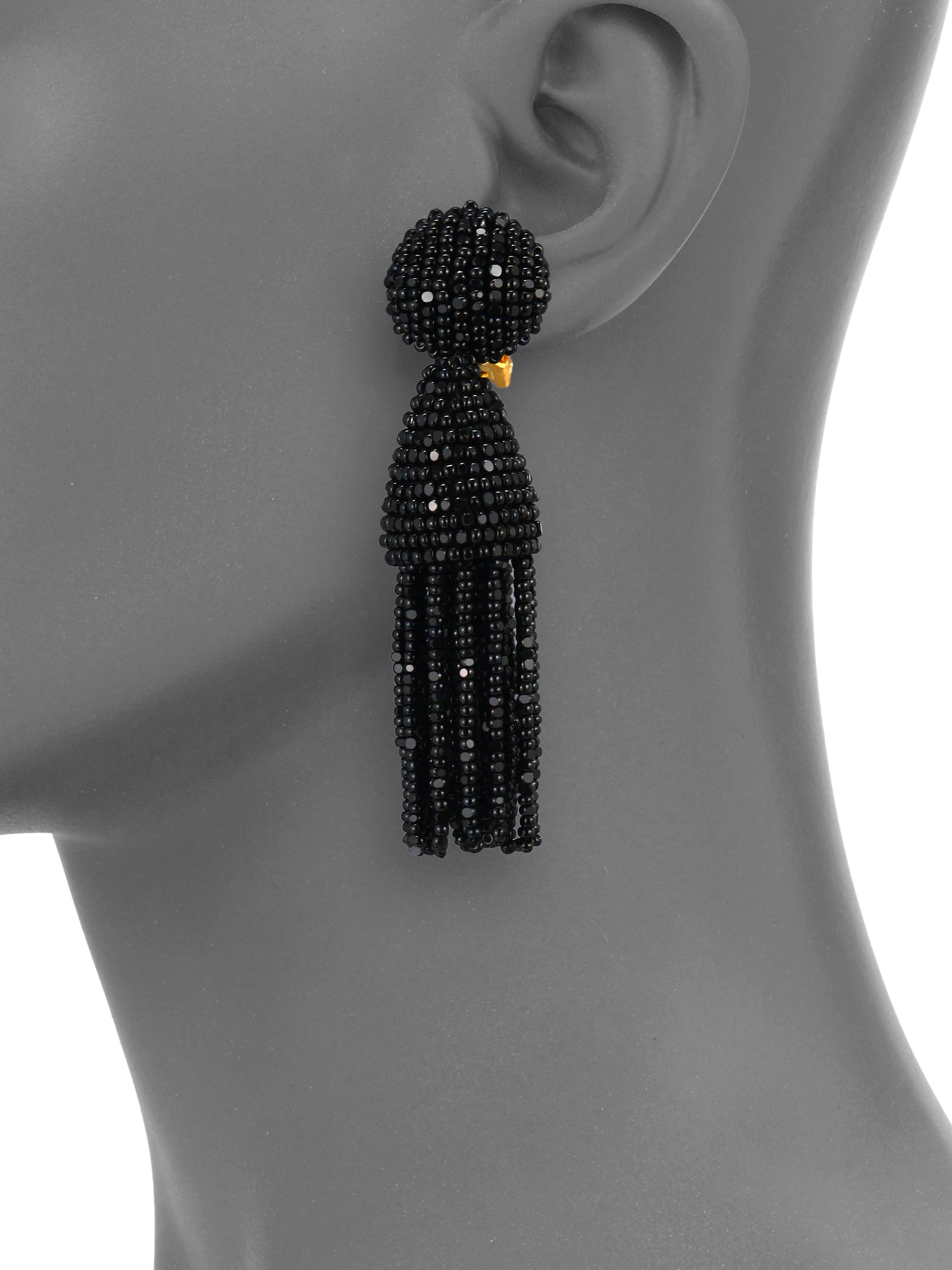 Short tassel-drop clip-on earrings Oscar De La Renta dqYWs