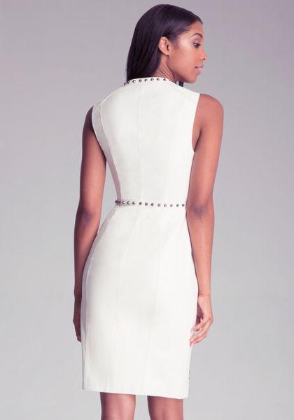 Bebe Ari Studded Dress In White Winter White Lyst