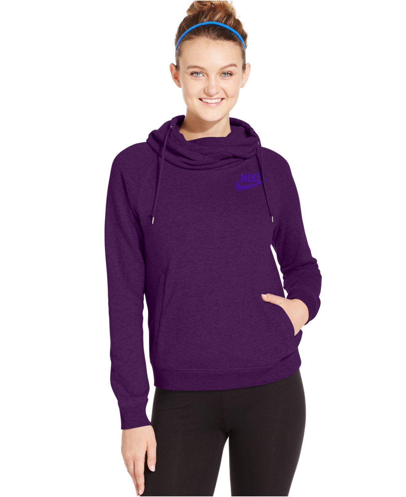 59306ae1a523 Lyst - Nike Rally Funnel-neck Pullover Hoodie in Purple
