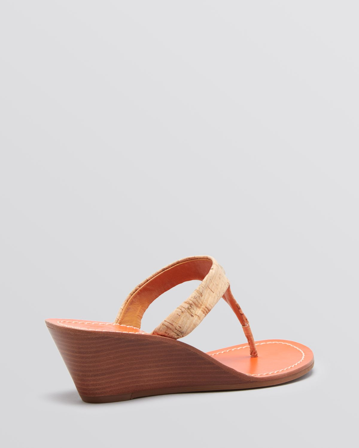 Tory Burch Thong Wedge Sandals Cameron In Natural Lyst