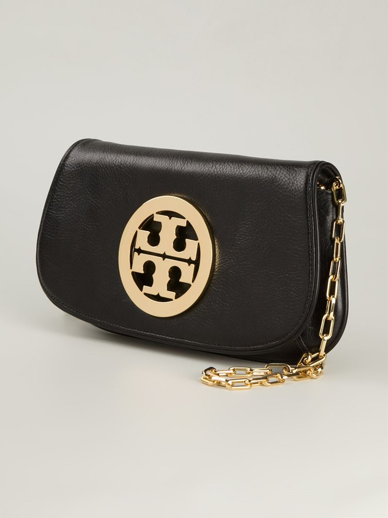 Tory burch Logo Plaque Crossbody Bag in Black
