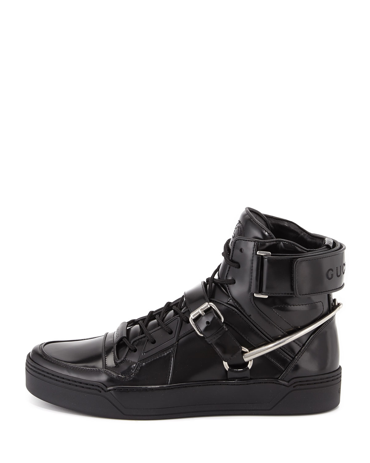 d1f5ea8d4b57 Lyst - Gucci Spur Tennis Leather High-top Sneaker With Horsebit in ...