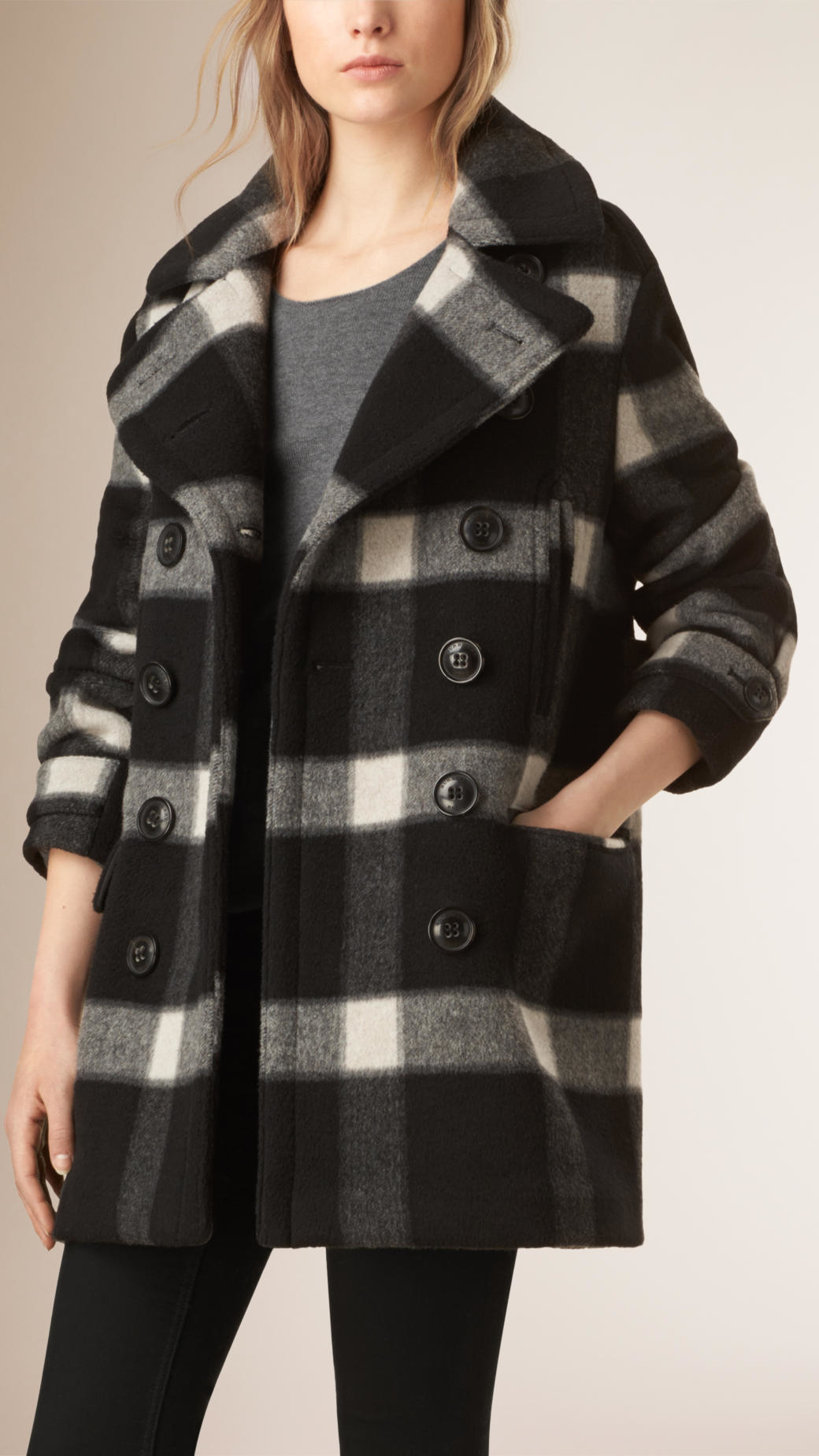 Burberry Check Virgin Wool Blend Pea Coat In Black Lyst