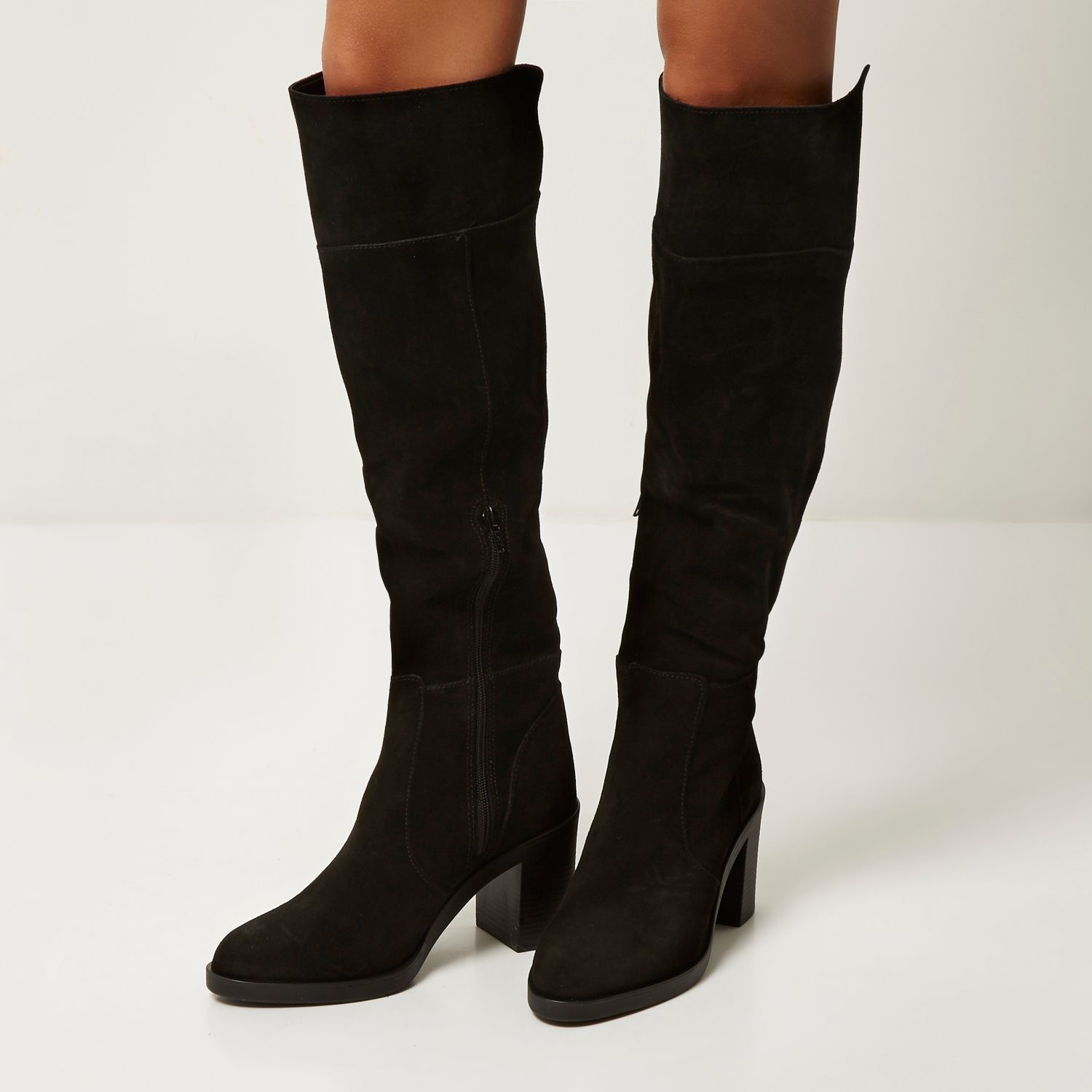 Shop black suede knee boot at Neiman Marcus, where you will find free shipping on the latest in fashion from top designers.
