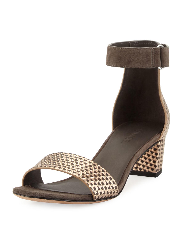 Lyst Vince Rita Pyramid Embossed Sandals In Metallic