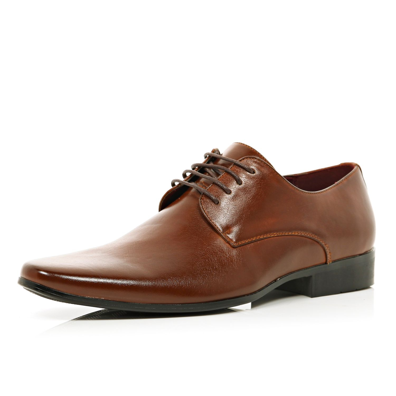 river island brown pointed formal shoes in brown for