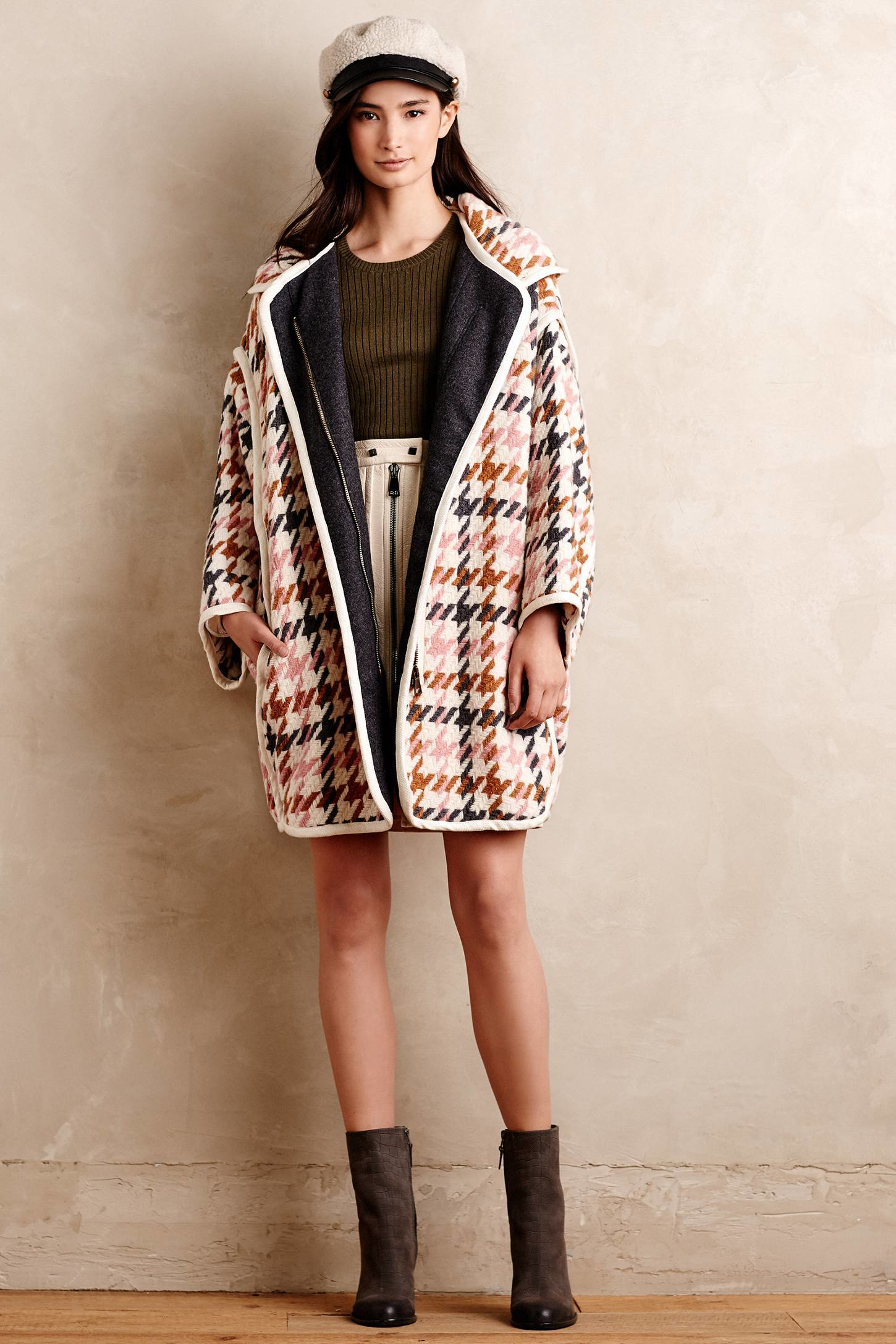 Paul & joe Houndstooth Wool Coat | Lyst