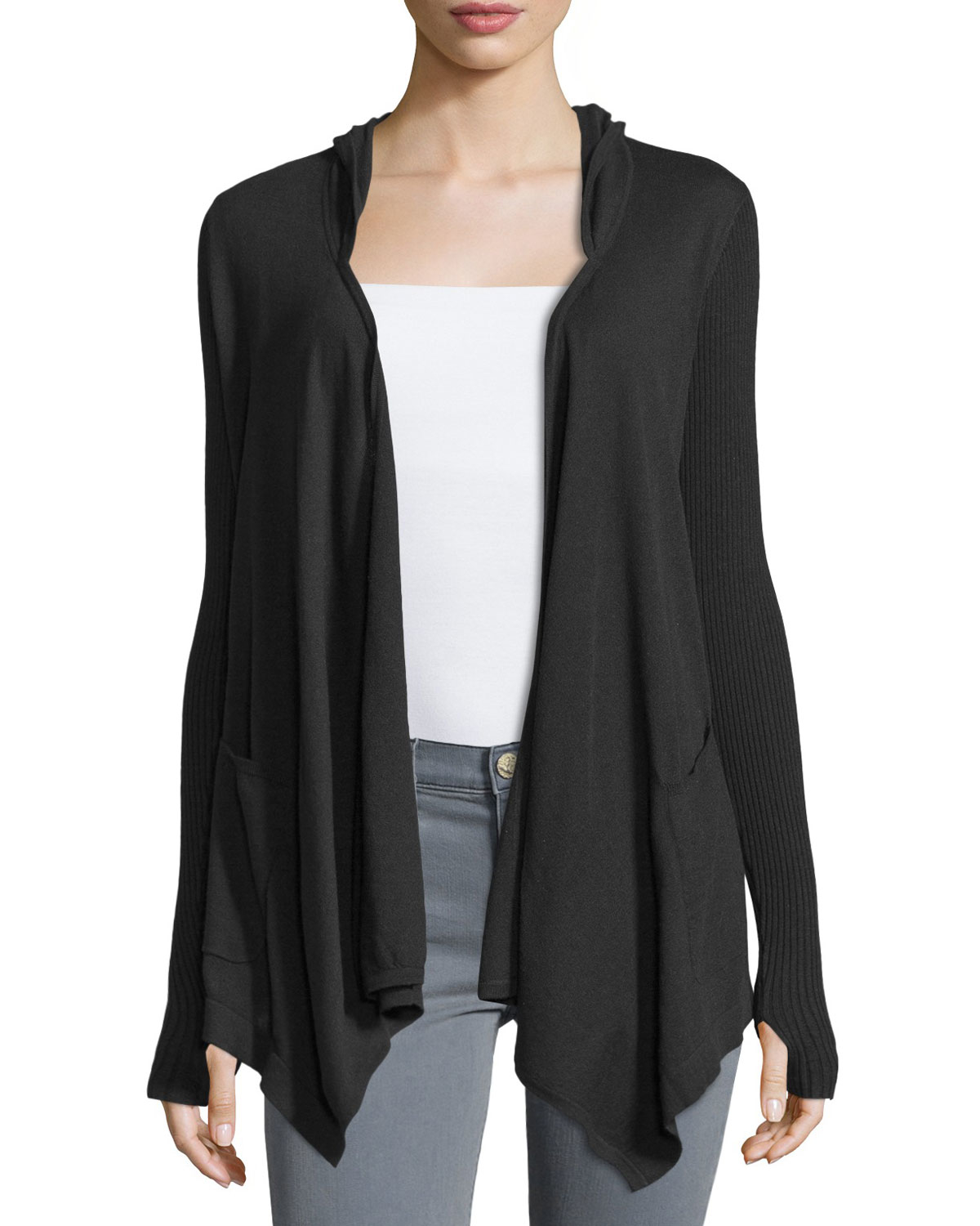 Minnie rose Cotton Hooded Open-front Duster Cardigan in Black | Lyst