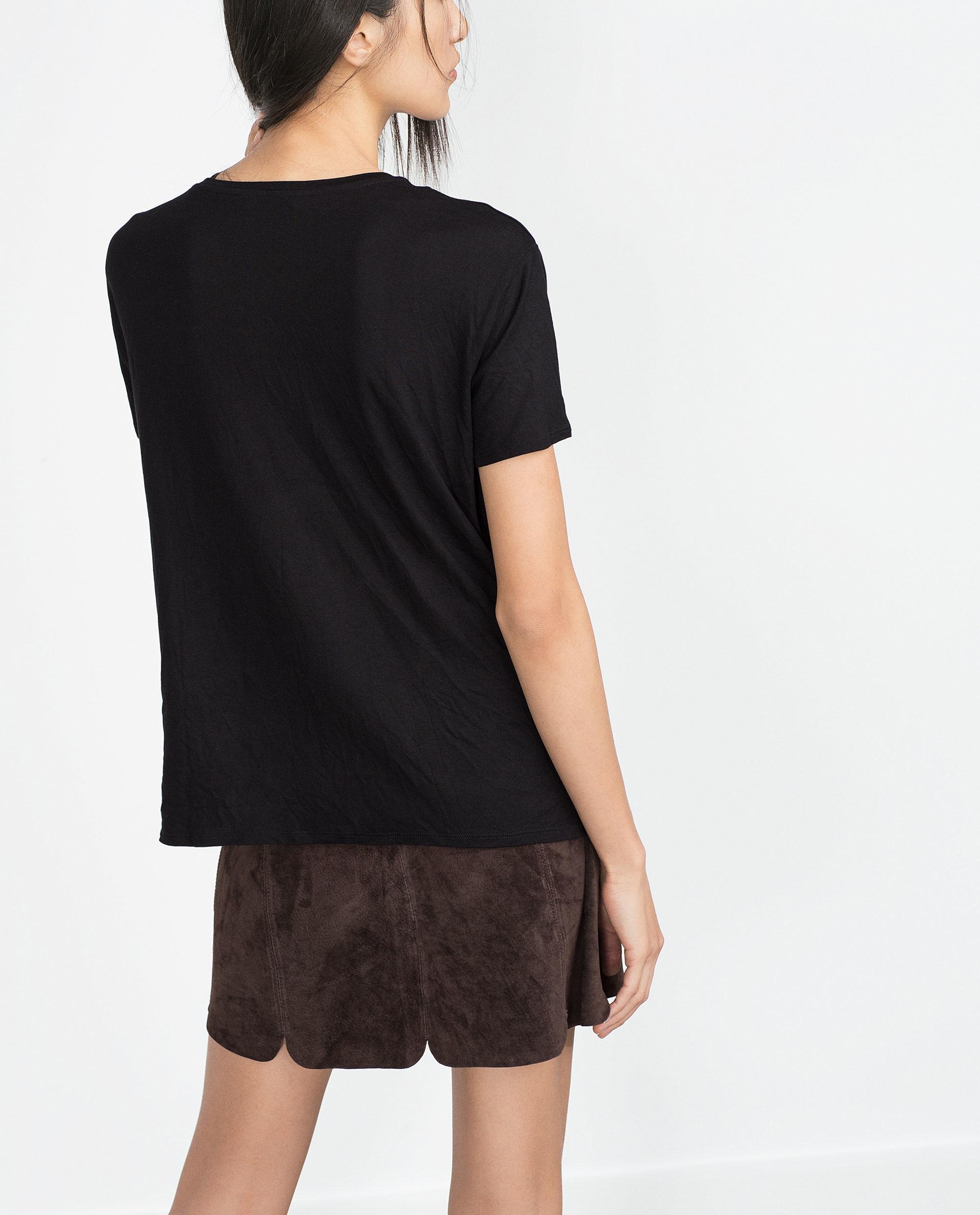 Zara patchwork t shirt in black lyst for Zara black t shirt dress