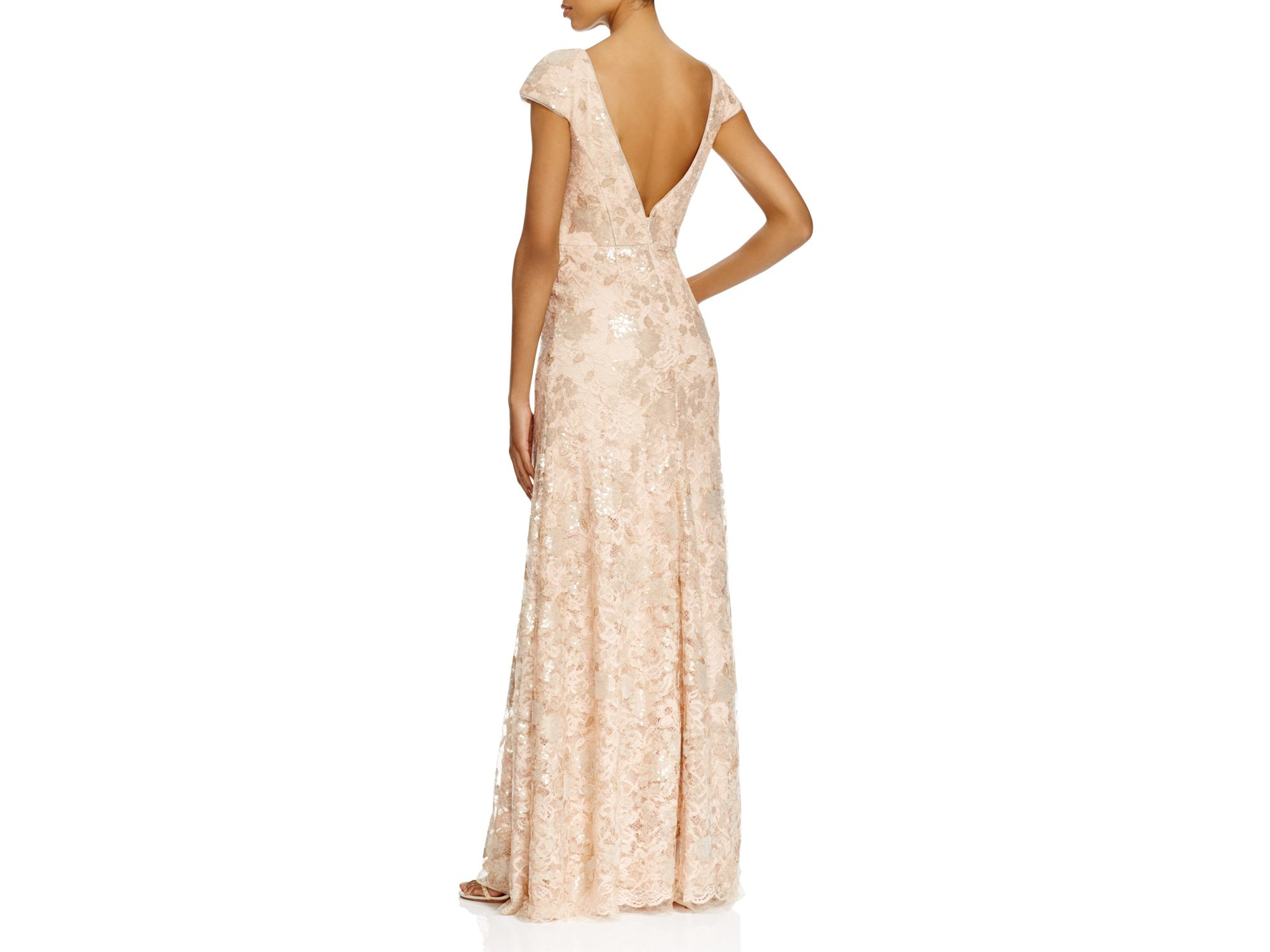 Vera wang Cap Sleeve Lace Gown in Pink