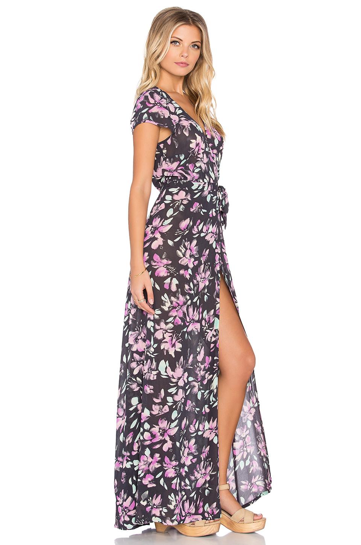 Tigerlily Hvar Floral Maxi Wrap Dress in Black - Lyst