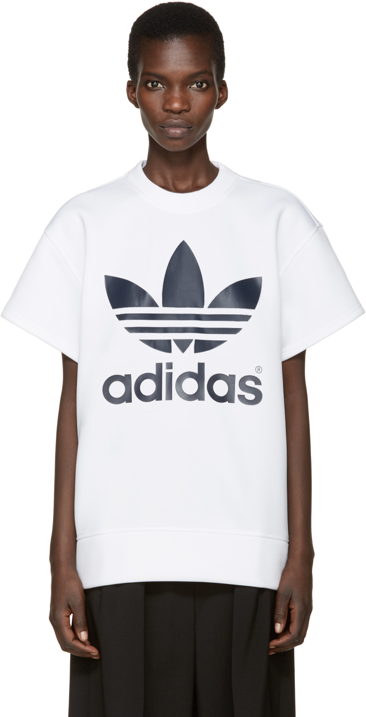 adidas originals white neoprene logo pullover in white for. Black Bedroom Furniture Sets. Home Design Ideas