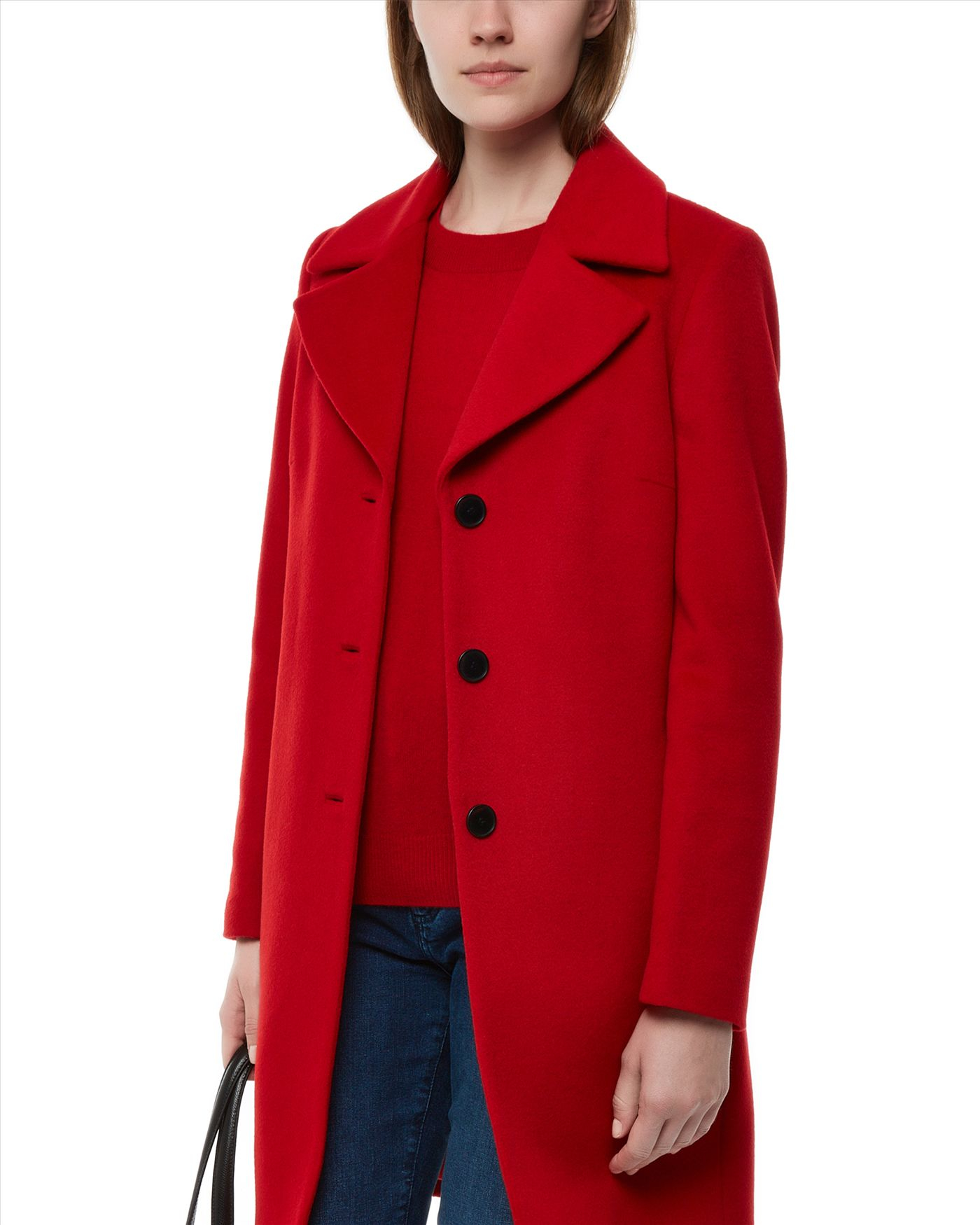 Jaeger Wool Three-button Coat in Red | Lyst