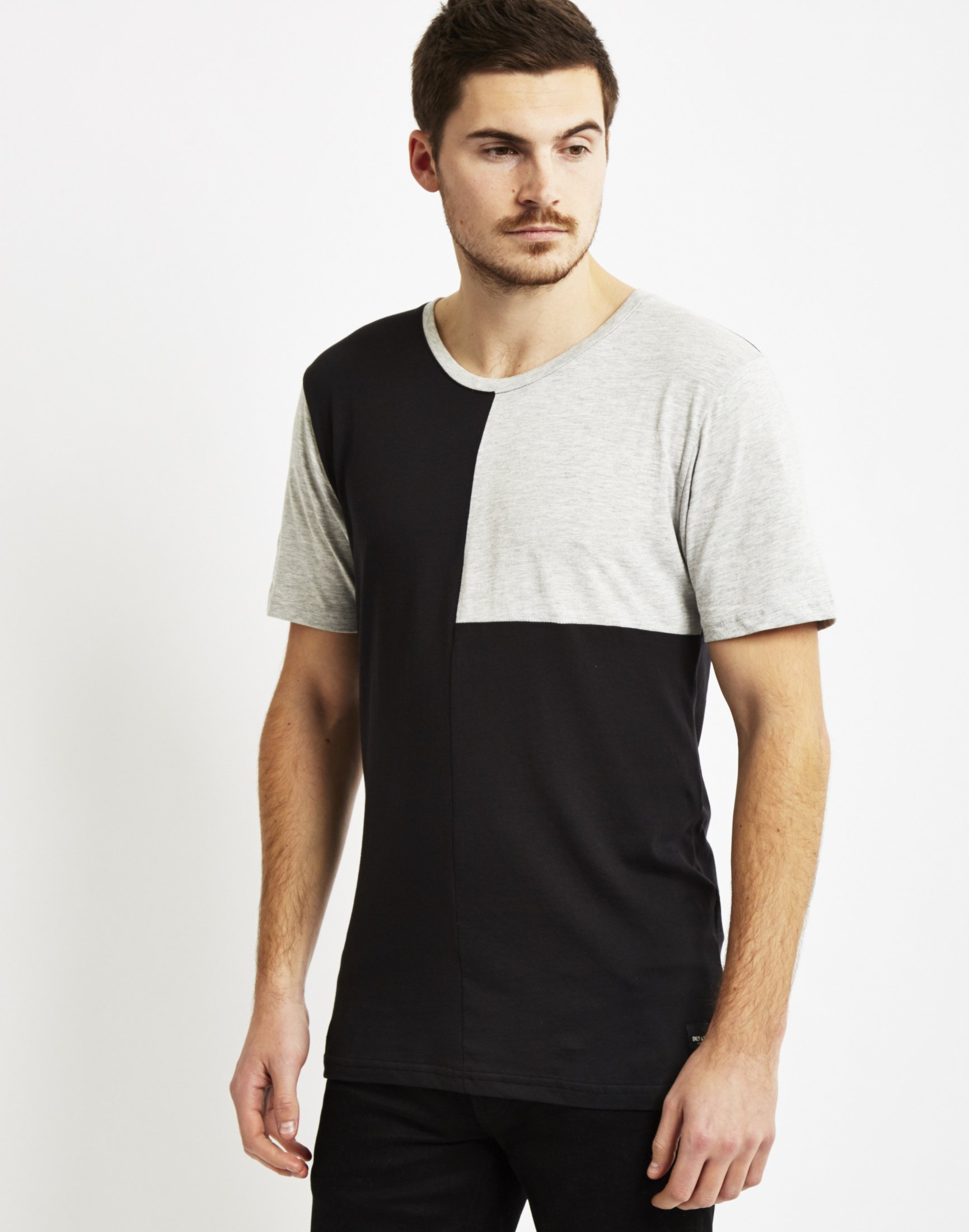 Only sons mens cut sew t shirt black in black for men for Cut shirts for men