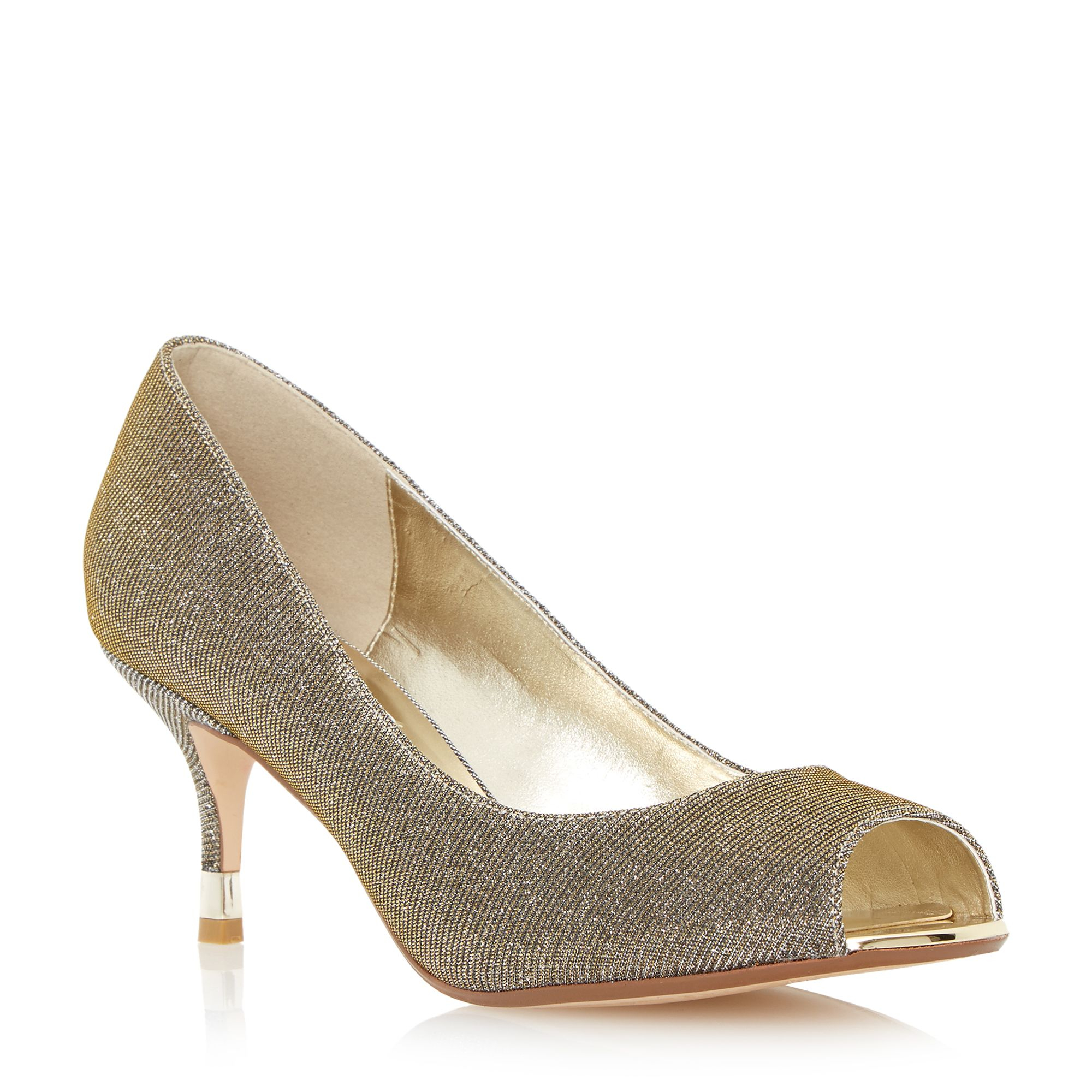 Dune Denise Peep Toe Kitten Heel Court Shoe in Metallic | Lyst