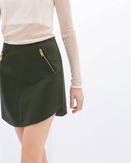 zara imitation leather skirt with zips in green khaki lyst