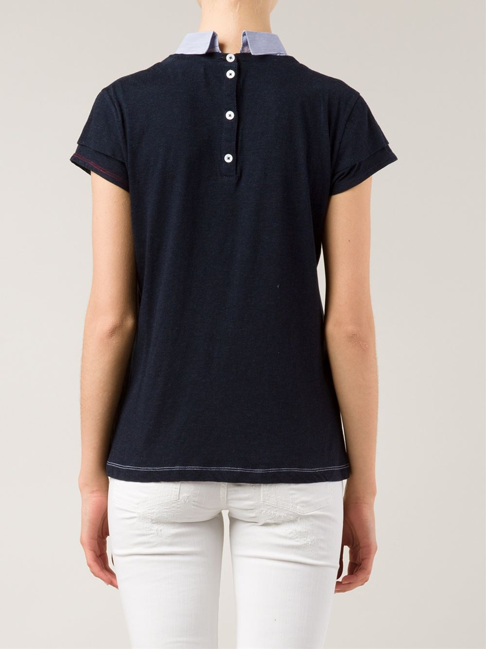 Band of outsiders shirt collar t shirt in blue lyst for Tony collar dress shirt