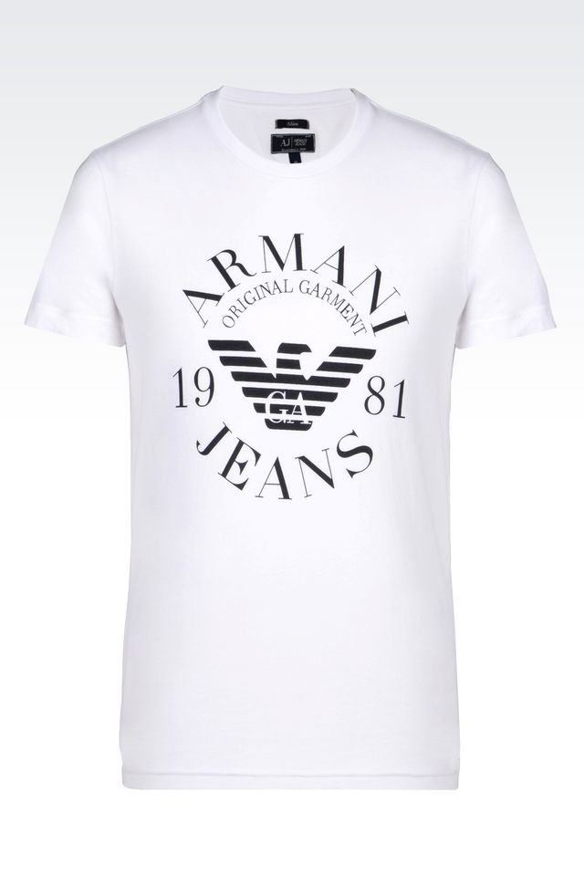 armani jeans print t shirt in white for men lyst. Black Bedroom Furniture Sets. Home Design Ideas