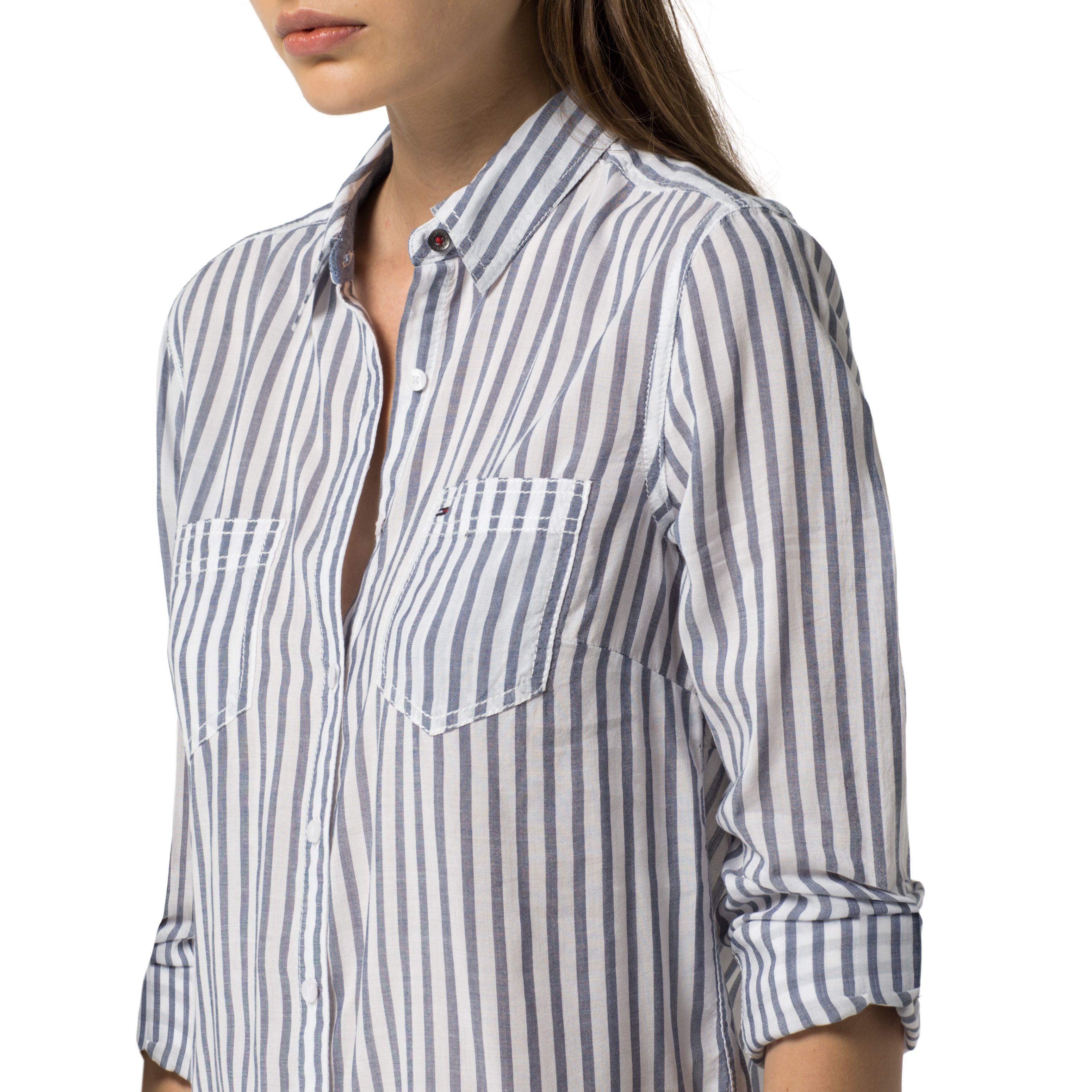 Tommy hilfiger nea stripe shirt in blue lyst for Tommy hilfiger fitzgerald striped shirt