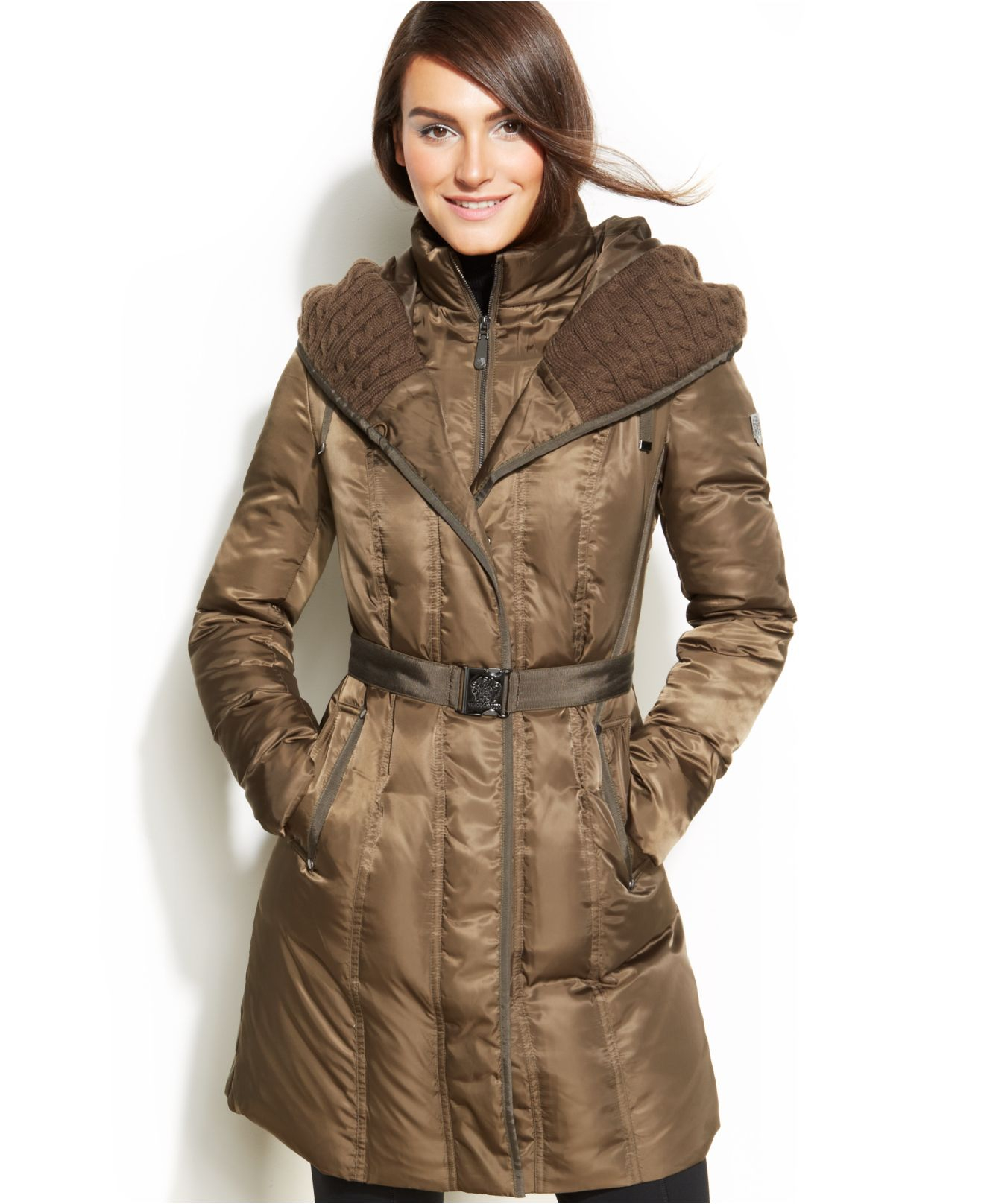 Lyst Vince Camuto Hooded Belted Down Puffer Coat In Green