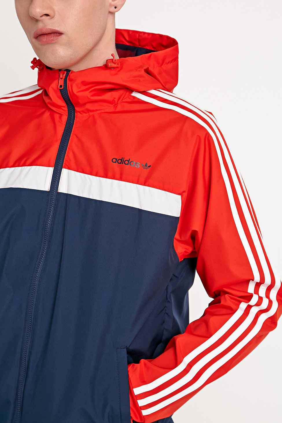 Adidas Marathon 83 Windbreaker Jacket In Navy And Red In Blue For