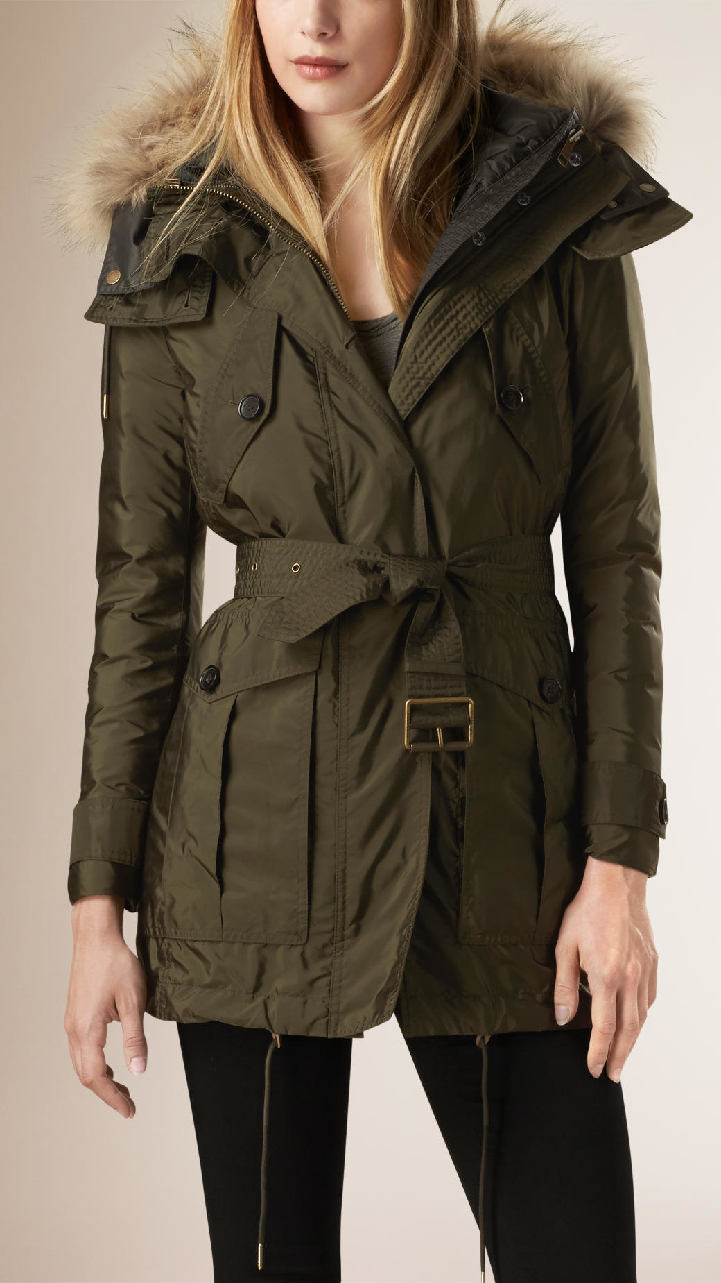 Burberry Parka With Fur Hood And Down-filled Warmer Dark Olive in ...