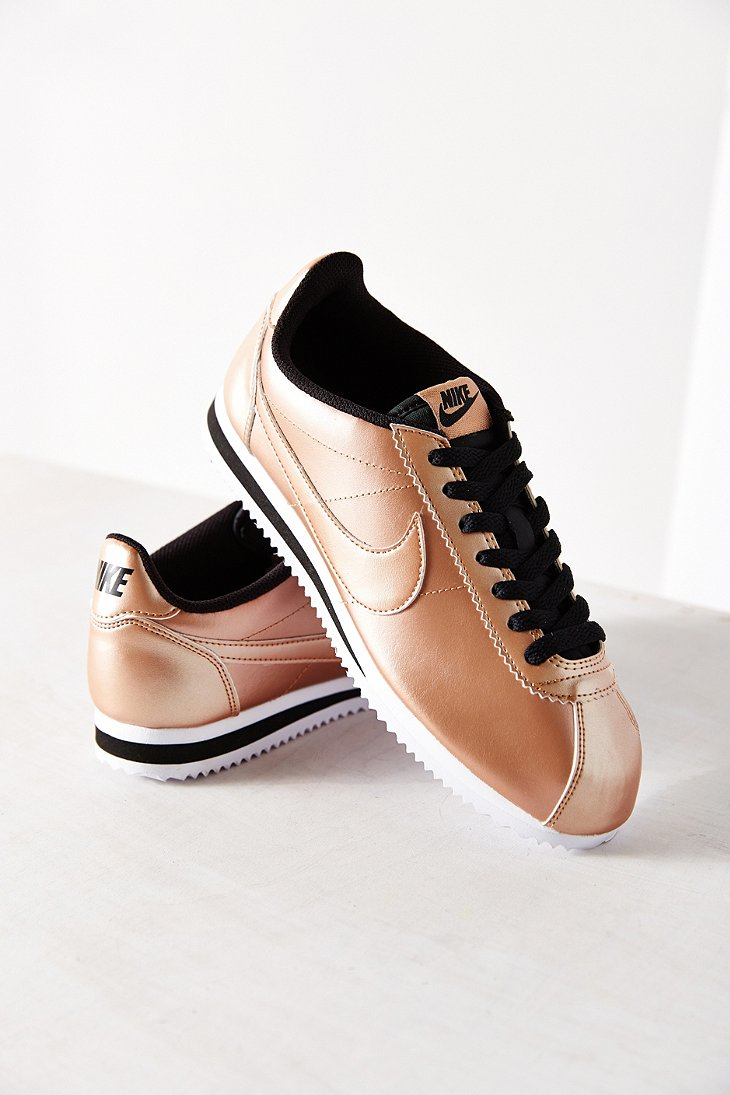 new arrivals ab280 ea072 ... netherlands lyst nike womens classic cortez leather sneaker in metallic  8dadc 07394