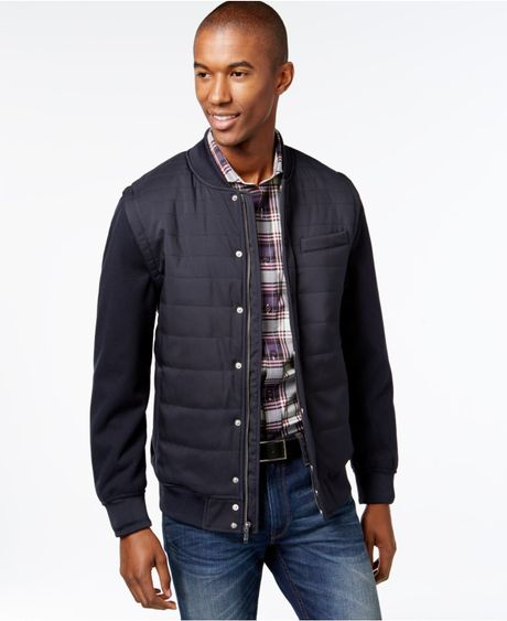 Vince Camuto Quilted Zip Off Sleeve Bomber Jacket In Blue