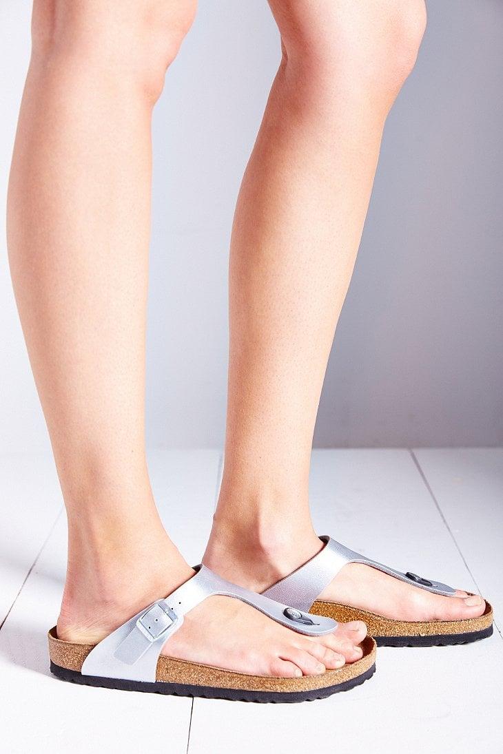 birkenstock gizeh birko flor thong sandal in metallic lyst. Black Bedroom Furniture Sets. Home Design Ideas